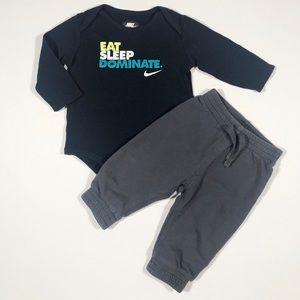9-12M Nike LS Onesie & Gray Sweatpants